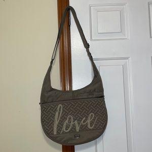 Lug Multipocket Olive Green Cloth Shoulder Bag EUC
